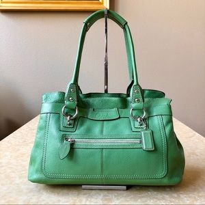 Like New Coach Pebble Satchel Gorgeous Green